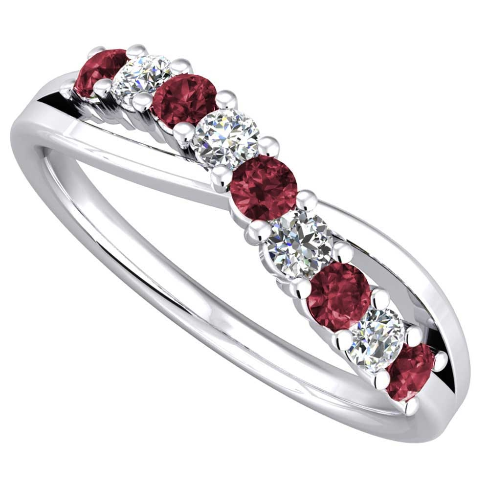 9ct White Gold Ruby And Diamond Crossover Eternity Ring