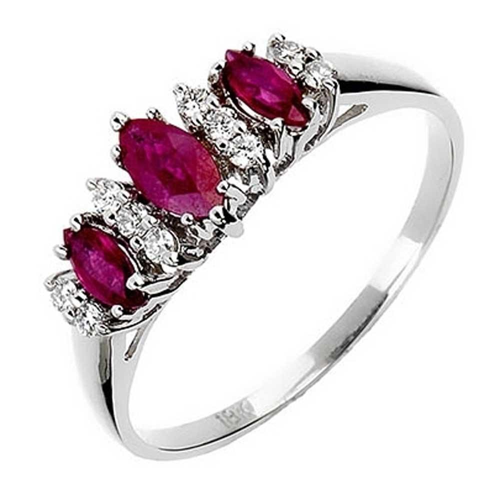 18ct White Gold Ruby Diamond Trilogy Ring 18DR343-R-W