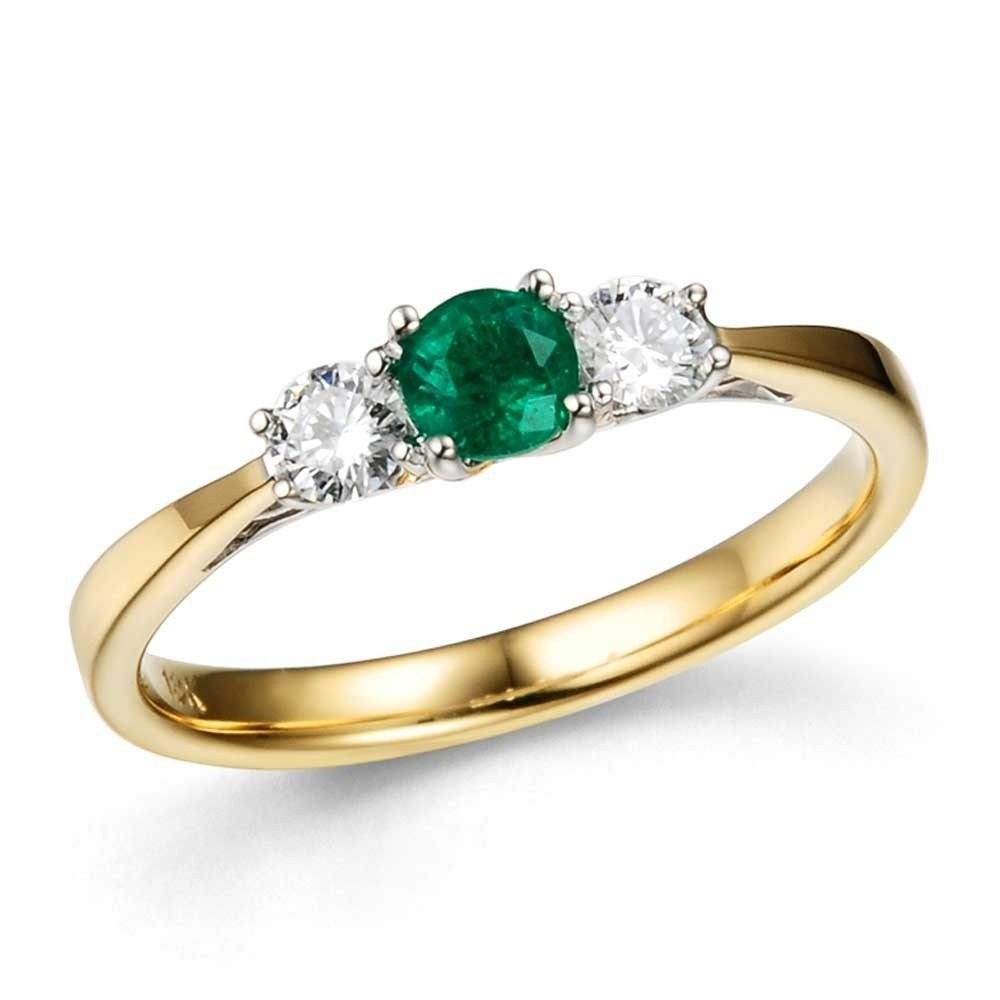 19d3bcfb3 18ct Gold Emerald and Diamond Trilogy Ring 14.08408.009