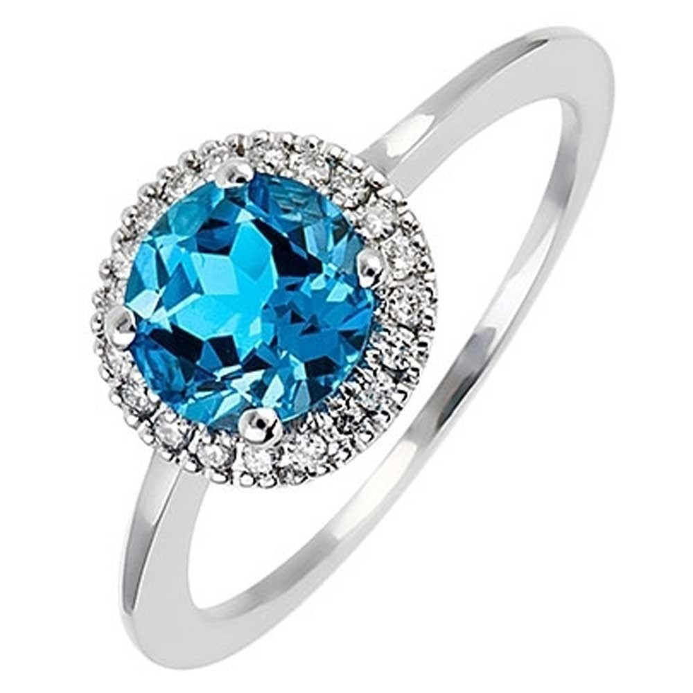 18ct White Gold Blue Topaz and Diamond Halo Ring 18DR286-W