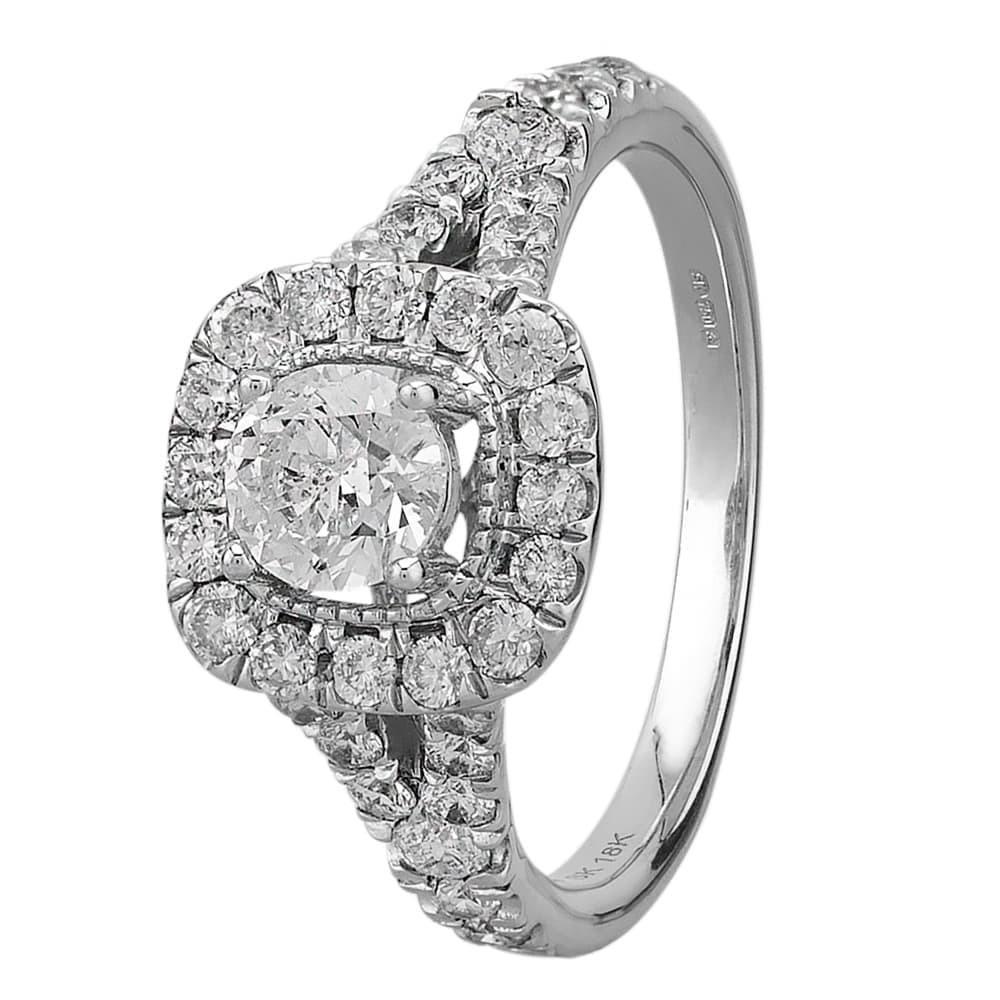 e14bb1430 18ct White Gold Square 1.65ct Diamond Halo Ring SKR18549-200E