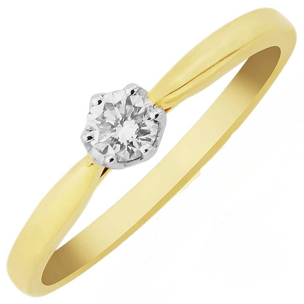 c603f3a5b20bc 9ct Gold Six Claw Tiffany-Set 0.15ct Solitaire Diamond Ring DR867 M