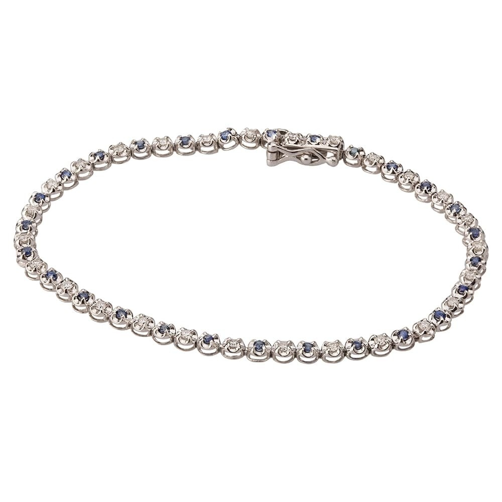 and i white sapphire gold bracelet diamond blue