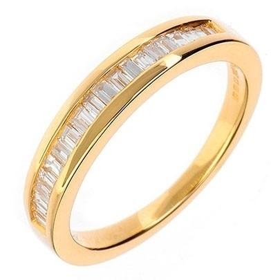 f81e6545570cc 18ct Gold Baguette-cut Diamond Channel Set Half Eternity Ring 18DR128-Y H