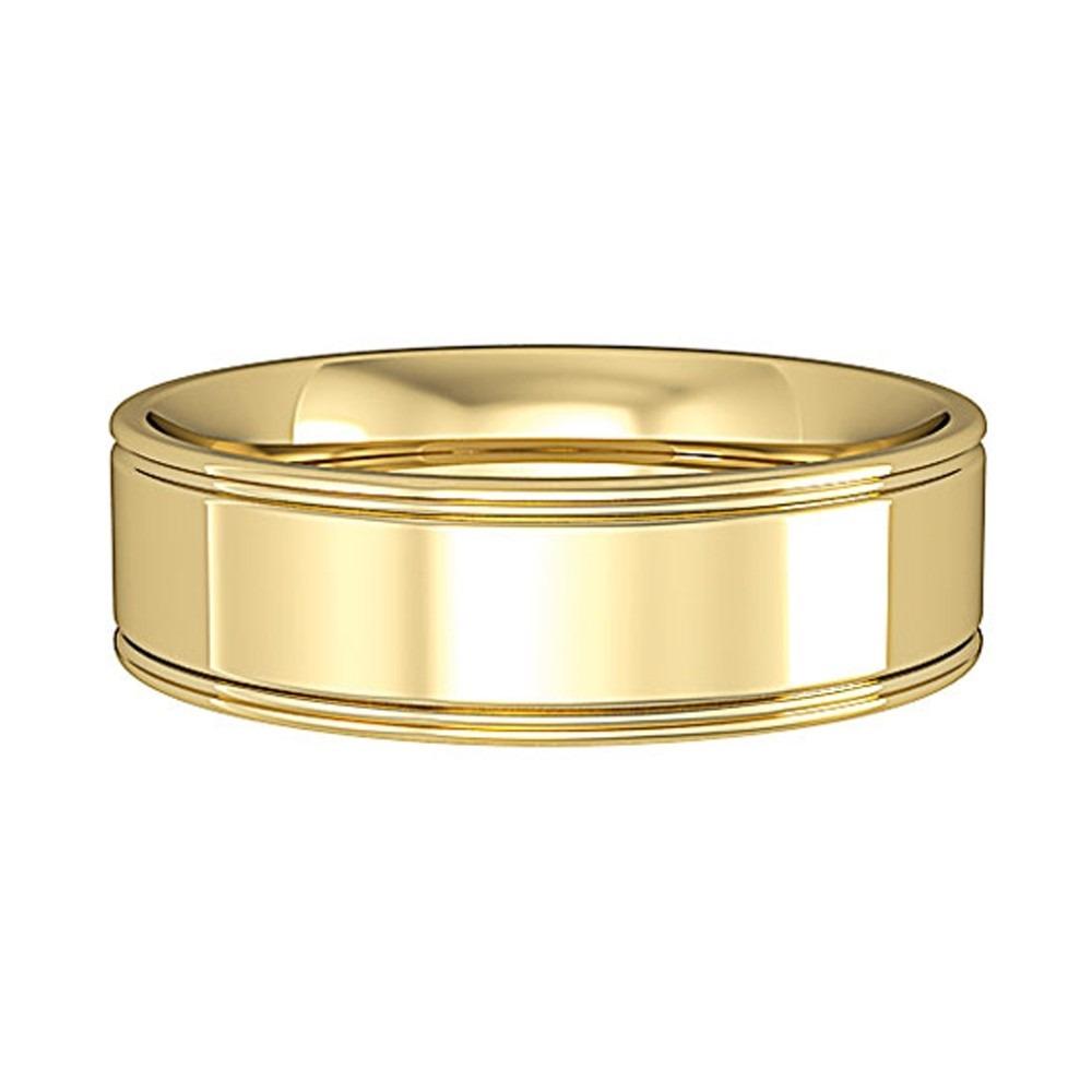 9ct Gold 6mm 2 Line Flat Court Wedding Ring R443D P