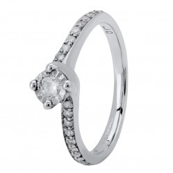 9ct White Gold Illusion-set Diamond Shouldered Twist Solitaire Ring 095-W92026D30