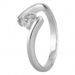 9ct White Gold Tension Set Solitaire Diamond Ring 0.61ct with Certification R398505 W 9(.61) O