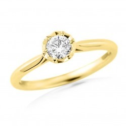 9ct Gold Solitaire Illusion Set Diamond 0.10ct Ring 9395/9YT/DQ1010