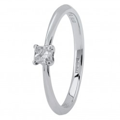 18ct White Gold Four Claw-set Princess-cut Diamond Solitaire Ring CR10270 18KW/.16CT O