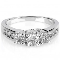 18ct White Gold 3 Stone 1.00ct Diamond Ring SKR4901