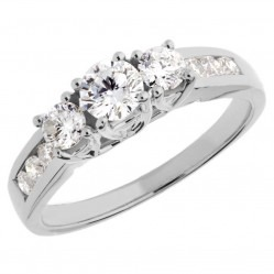 18ct White Gold 3 Stone 1.00ct Diamond Ring SKR4901