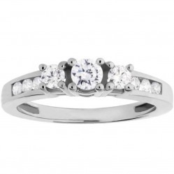 9ct White Gold Three Stone .50ct Diamond Shouldered Ring SKR5019