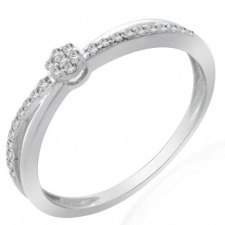 9ct White Gold 0.10ct Diamond Crossover Cluster Ring 9186R010 WG