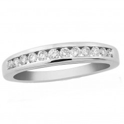 9ct White Gold Diamond Channel Set Half Eternity 0.25ct Ring DR115W O