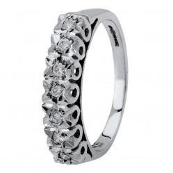 9ct White Gold Illusion-set Seven Stone Half Eternity Ring 095-WS85D15 L