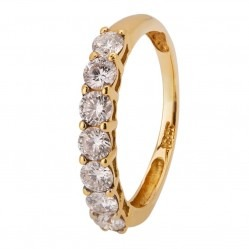 18ct Yellow Gold Seven Stone Basket-set Half Eternity Ring CR10995 18KY/DIA