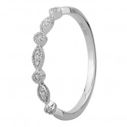 9ct White Gold 0.07ct Diamond Fancy Half Eternity Ring SKR12012-07