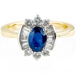 9ct Gold Oval Sapphire and Multi-Cut Diamond Cluster Ring DSR757