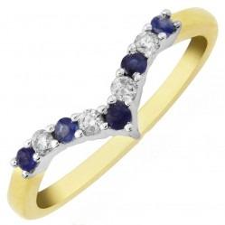 9ct Gold Sapphire and Diamond Half Eternity Wishbone Ring DSR798 Q