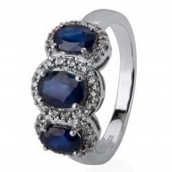 9ct White Gold Triple Sapphire and Diamond Halo Cluster Ring DSR844W P
