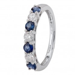 18ct White Gold Seven Stone Sapphire and Diamond Half Eternity Ring CR10995 18KW/SAPH