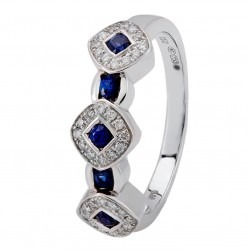 18ct White Gold Sapphire and Diamond Fancy Cluster Ring 18DR342/S/W/N