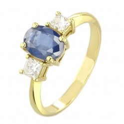 18ct Yellow Gold Oval Sapphire and Princess-cut Diamond Trilogy Ring VR11759 18KY SAP M