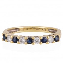 18ct Gold Sapphire and Diamond Half Eternity Ring CR10996 18KY/SAPH I