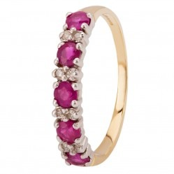 9ct Yellow Gold Ruby and Diamond Half Eternity Ring 095-D8893-RU