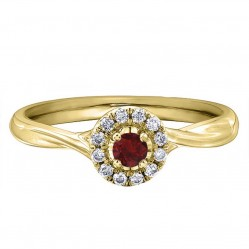 9ct Yellow Gold Ruby and Diamond Twist Cluster Ring 30170YW/20-10 RUBY