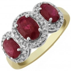 9ct Gold Oval Ruby and Diamond Triple Cluster Ring DRR844