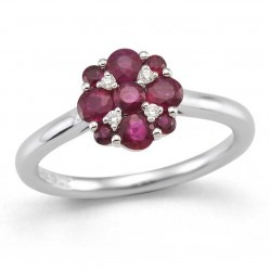 9ct White Gold Ruby and Diamond Cluster Ring 32.08274.016 O