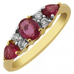 9ct Gold Multi-cut Ruby and Diamond Seven Stone Cluster Ring DRR694