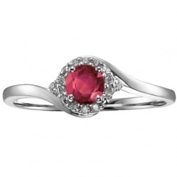 9ct White Gold Ruby and Diamond Round Cluster Twist Ring 51Z82WG-10RUBY L