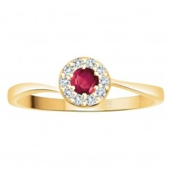 9ct Gold Ruby and Diamond Round Cluster Ring L54383-9K-RUBY