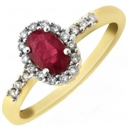 9ct Gold Oval Ruby and Diamond Shouldered Cluster Ring DRR562