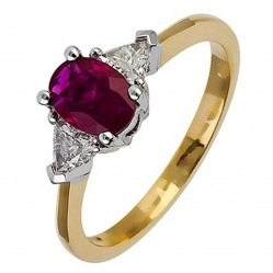 18ct Gold Oval Ruby and Diamond Ring 18DR252-R-2C