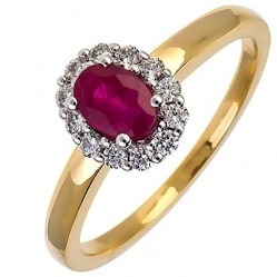 18ct Gold Oval Ruby and Diamond Cluster Ring 18DR254-R-2C N