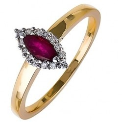 18ct Gold Marquise Ruby and Diamond Cluster Ring 18DR257-R-2C O