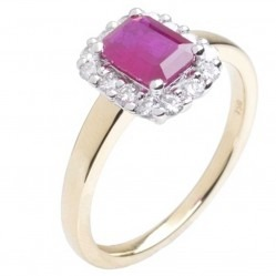 18ct Gold Emerald-Cut Ruby and Diamond Sapphire Ring  18DR258-R-2C