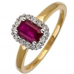 18ct Gold Ruby Diamond Halo Ring 18DR259-R-2C