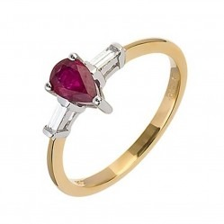18ct Gold Ruby and Baguette Diamond Ring 18DR277-R-2C
