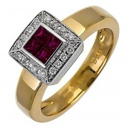 18ct Yellow Gold Ruby and Diamond Square Cluster Ring 18DR280-R-2C