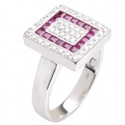 18ct White Gold Square-cut Ruby and Diamond Mosaic Cluster Ring 18DR284-R-W O