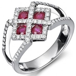 18ct White Gold Fancy Ruby and Diamond Square Cluster Ring 18DR313-R-W M