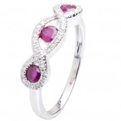 18ct White Gold Triple Ruby and Diamond Fancy Ring 18DR314-R-W