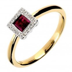 18ct Yellow Gold Ruby and Diamond Square Cluster Ring 18DR333-R-2C