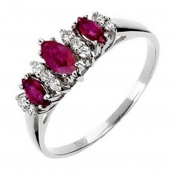 18ct White Gold Ruby Diamond Trilogy Ring 18DR343-R-W