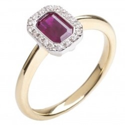 18ct Gold Ruby Diamond Halo Ring 18DR334-R-2C