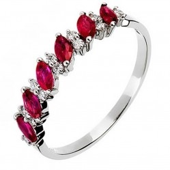 18ct White Gold Ruby and Diamond Half Eternity Ring 18DR344-R-W
